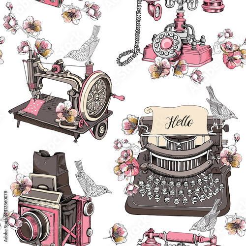 Tapety Industrialne  wzor-z-wizerunkiem-rocznika-maszyny-do-pisania-maszyny-do-szycia-pole-aparatu-telefon-kwiaty-wisni-i-ptaki-ilustracja-wektorowa