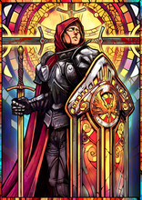 Colored Stained Glass The Girl Knight In Heavy Armor With A Huge Tower Shield And A Sword Peacefully Catches The Rays Of Light With Her Face. 2d Illustration.