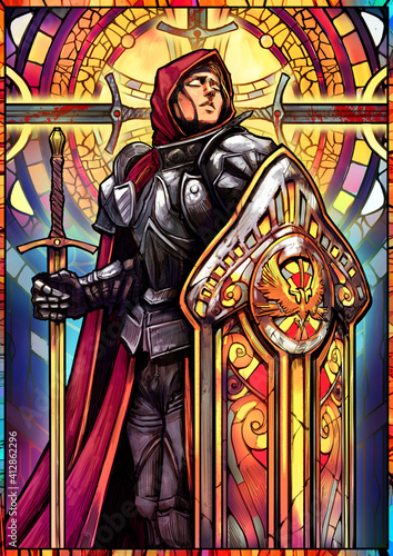 Cuadros en Lienzo Colored stained glass The girl knight in heavy armor with a huge tower shield and a sword peacefully catches the rays of light with her face