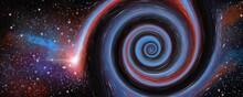 Web Banner Sfondo Galassia A Spirale Nel Cielo Stellato. Spazio Cosmico Nebulosa.
