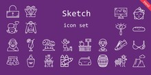 Sketch Icon Set. Line Icon Style. Sketch Related Icons Such As Barrel, Pants, Large, Sneakers, Draw, Lemonade, Girl, Boy, Crayons, Pencil Case, Unlocked, Heart, Bra, Hoodie