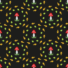Seamless Pattern With Beautiful Amanita Muscaria And Autumn Leaves On Black Background. Vector Image.