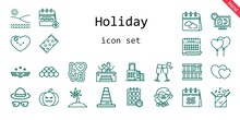 Holiday Icon Set. Line Icon Style. Holiday Related Icons Such As Gift, Calendar, Love, Suitcase, Beach Towel, Jacuzzi, Balloons, Air Force, Box, Cone, Heart, Palm Tree, Schedule, Ball, Sale, Teacher