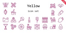 Yellow Icon Set. Line Icon Style. Yellow Related Icons Such As Banana, German, Crayon, Buttons, Candy, Balloons, Lollipop, Pencil, Mango, Radio, Urinal, Butterfly, Helmet, Diode, Champagne, Sweet