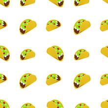 Taco Mexican Food Emoji Pattern. Traditional Corn Tortilla Seamless Background Symbols. Silhouette Emoticon Tex-Mex Design Vector.