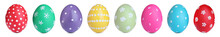 Set With Colorful Easter Eggs On White Background, Banner Design
