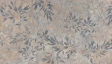 Flowers On The Old White Wall Background, Digital Wall Tiles Or Wallpaper Design, Cement Texture Background
