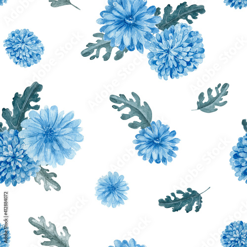 Valokuvatapetti Chrysanthemum floral seamless pattern