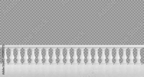 Fotomural White marble balustrade for balcony or terrace
