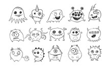 Collection Of Cute Doodle Monsters On White Background.  Microbe And Bacteria Doodles.