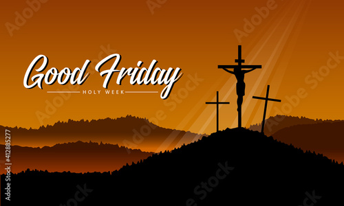 Carta da parati good friday, holy week banner with Jesus in Cross crucifix on hill and yellow su