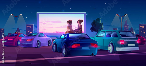 Obraz na plátně Outdoor cinema, open air movie theater with cars