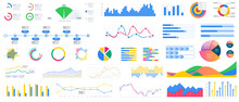 Bundle Infographic UI, UX, KIT Elements. Different Charts, Diagrams, Workflow, Flowchart, Timeline, Schemes. Data Visualization Kit With Buttons, Schematic Mockups For Business Report Presentation.