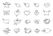Heart Icons Set Collection. Contour Line. Pierce Arrow. Pirate Bones. Snake Skull And Knife. Valentines Day Love For Men. Vector Illustration.