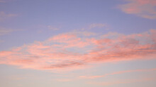 Clouds At Sunset. Atmospheric Pink Sky. Abstract Natural Background, Beautiful In Nature