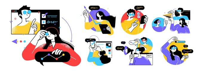 Business Concept illustrations. Collection of scenes with men and women taking part in business activities