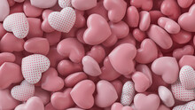 Multicolored Heart Background. Valentine Wallpaper With Pink And Polka Dot Love Hearts. 3D Render