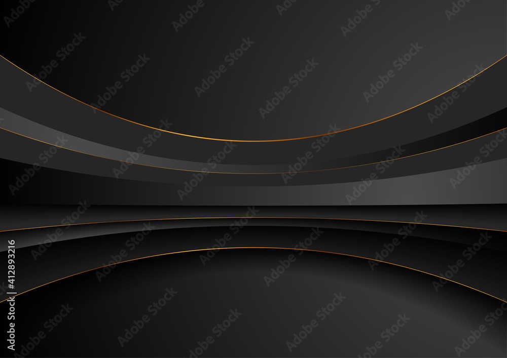 Fototapeta Black waves and golden lines abstract technology background. Vector illustration