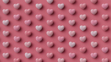 Multicolored Heart Background. Valentine Wallpaper With Pink, Polka Dot And Striped Love Hearts. 3D Render