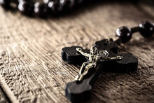 Rustic Wooden Rosary, Handmade, On Wooden Background, Space For Text