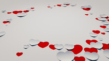 Paper Heart Background. White And Red Valentine's Day Wallpaper With Cut-out Love Hearts. 3D Render