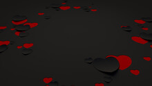 Paper Heart Background. Black And Red Valentine's Day Wallpaper With Cut-out Love Hearts. 3D Render