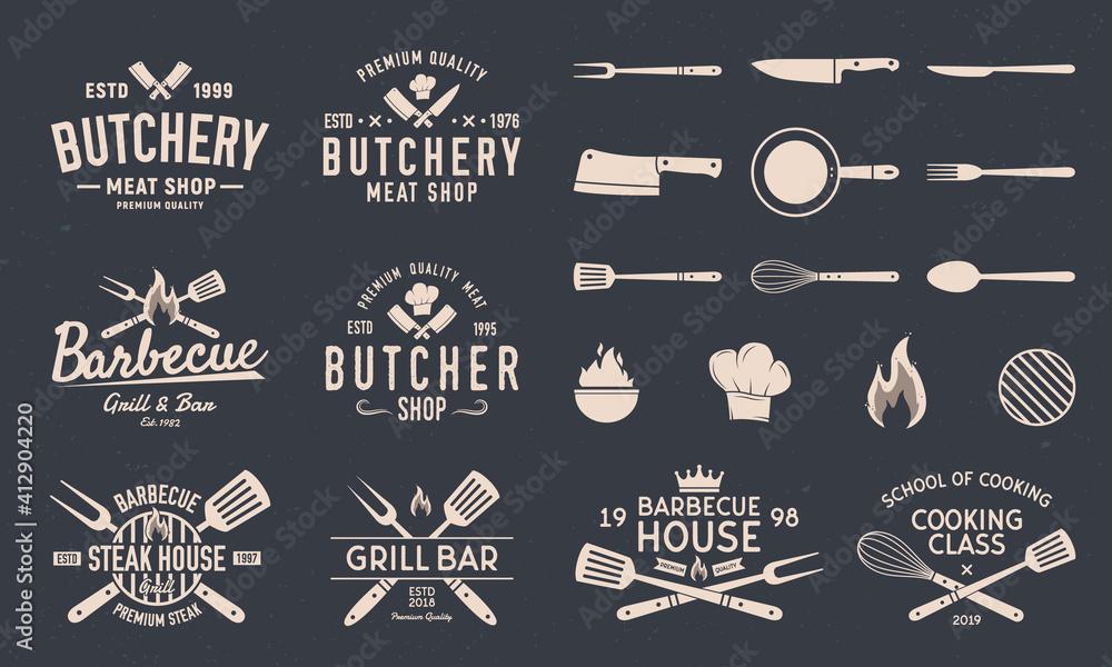 Fototapeta Butchery and Barbecue logos, emblems, labels, badges. Gill logos. Set of 8 logo templates. Kitchen utensils. Restaurant objects. 13 design elements for logo, banner, poster design. Vector illustration