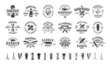 Barbershop, Barber, Haircut's Salon Vintage Hipster Logo Templates. 18 Logos And 16 Design Elements For Barber Shop, Haircut's Salon. Barber Shop Emblems Templates. Vector Illustration