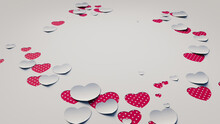 Paper Heart Background. White And Red Polka Dot Valentine Wallpaper With Cut-out Love Hearts. 3D Render