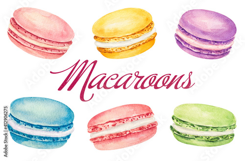 Fototapeta Set of watercolor macaroons isolated on white background