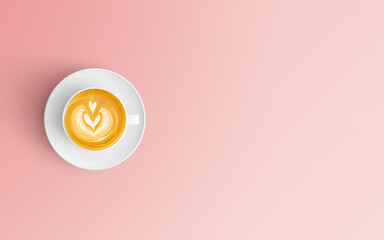 Directly Above Shot Of Coffee Cup Over Pink Background