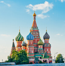 The Cathedral Of Vasily The Blessed (Saint Basil's Cathedral) On Red Square In Summer Day. Moscow. Russia