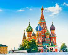 The Cathedral Of Vasily The Blessed (Saint Basil's Cathedral) On Red Square In Summer Sunny Morning. Moscow. Russia