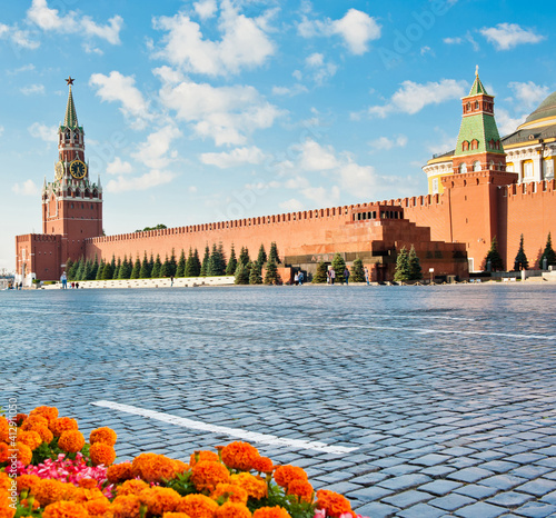 Fototapeta Red square. Sunny summer morning. Moscow. Russia
