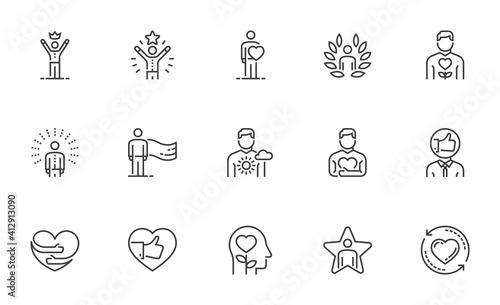 Fotografia Set of Vector Line Icons Related to Self-esteem
