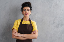 Beautiful Smiling Young Woman In Apron Isolated