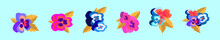 Set Of Pansy Flower Cartoon Icon Design Template With Various Models. Vector Illustration Isolated On Blue Background