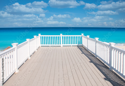Panoramic view of the Caribbean Ocean with the clear turquoise water of the Mexi Wallpaper Mural