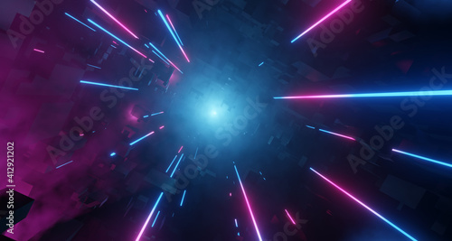Fototapeta Neon City with Light Tech Digital effect. Bright Pink and Blue Neon lens flares, misty environment. 3D render obraz