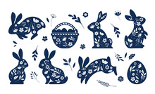 Happy Easter, Decorated Easter Card, Banner. Bunnies, Easter Eggs, Flowers And Basket. Folk Style Patterned Design.