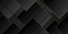 Black Flat 3d Image Of A Dark Toned Background Of A Series Of Cubic Solids With Gold Lines