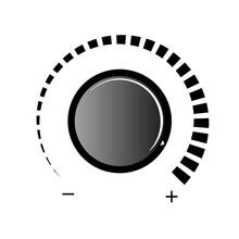 Volume Knob Vector Icon. Volume Knob On White Background. Simple Volume Knob Icon.