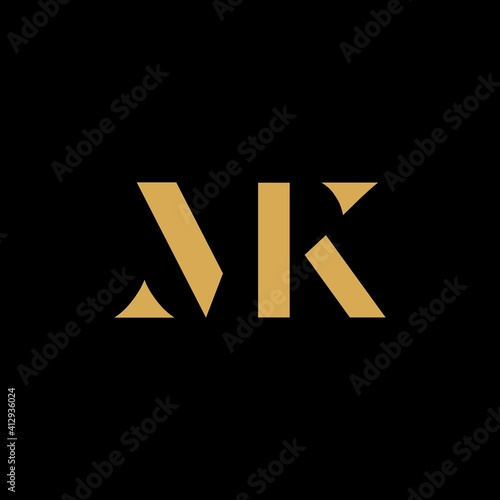 Minimalist gold abstract letter MK logo Wall mural