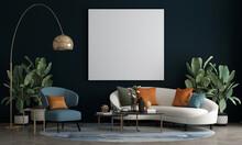 The Mock Up Canvas Frame And Furniture Design In Modern Interior Background, Living Room, Scandinavian Style, 3D Render, 3D Illustration