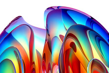 3d Render Of Abstract Art Fashion 3d Background With Part Of Surreal Organic Curve Round Wavy Elegance Meta Substance Of Spherical Alien Flower Sculpture In Matte Glass In Rainbow Gradient Color
