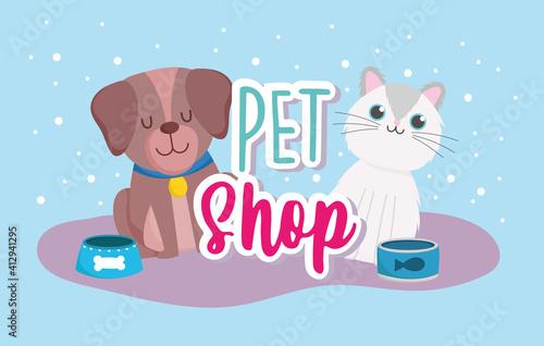 Fototapeta pet shop dog cat with food cartoon obraz