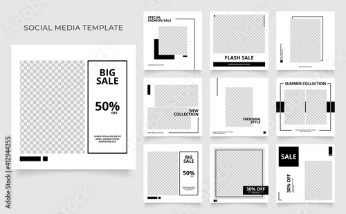 Fototapeta social media template banner fashion sale promotion. fully editable instagram and facebook square post frame puzzle organic sale poster. black white vector background. black friday theme obraz na płótnie