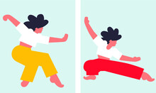Wushu Woman Banner Set. Scandinavian Flat Vecor Asian Woman. Taiji Pose. Karate. Cartoon Trendy Style Of People Set. Sport Woman Set Banners