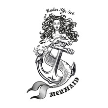 Mermaid With Anchor Tattoo Design. Monochrome Element With Girl With Fishtail Vector Illustration With Text. Sea Or Sailing Concept For Symbols And Labels Templates