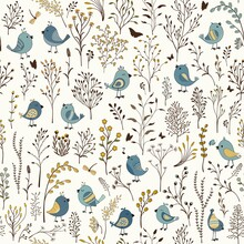 Floral Seamless Pattern With Cute Cartoon Birds
